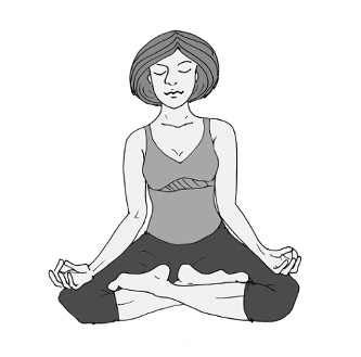"""Meditieren lernen mit einer vorteilhaften Sitzhaltung, hier: der """"halbe Lotussitz"""""""